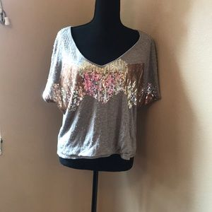 Good used condition, grey sequin top